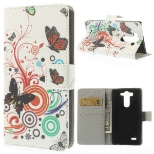 For LG G3 S D722 D725 Vivid Butterfly Circle Protective Leather Wallet Case