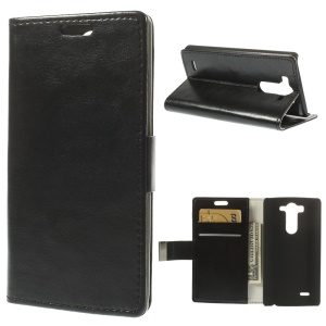 Black Crazy Horse PU Leather Stand Case w/ Wallet Card Slots for LG G3 S