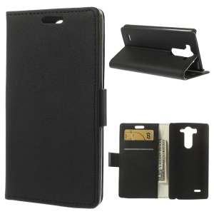 Lychee Textured Wallet Leather Case with Stand for LG G3 S D722 D725 - Black