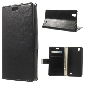 Crazy Horse Wallet Leather Stand Case for Huawei Ascend G630 - Black