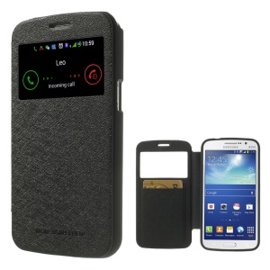 Mercury GOOSPERY for Samsung Galaxy Grand 2 G7102 G7105 G7100 Wow Bumper View Leather Card Slot Cover - Black