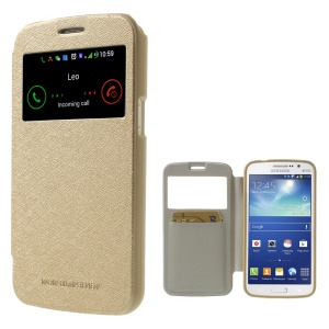 Mercury GOOSPERY for Samsung Galaxy Grand 2 G7105 Wow Bumper View Leather Card Slot Case - Champagne Gold