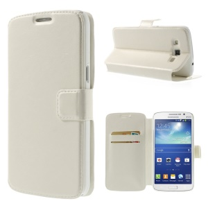 White Crazy Horse Wallet Leather Stand Case for Samsung Galaxy Grand 2 SM-G7100
