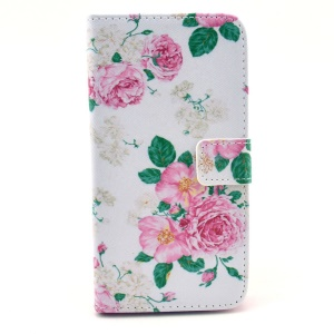 Fresh Flowers Leather Magnetic Case w/ Card Slots for Samsung Galaxy Grand 2 Duos G7102