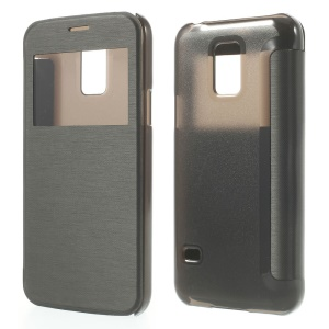 Black Window View Leather Flip Cover w/ Back Plastic Case for Samsung Galaxy S5 mini SM-G800