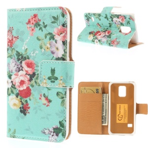 Fresh Flowers Leather Magnetic Case w/ Card Slots for Samsung Galaxy S5 mini SM-G800 - Cyan