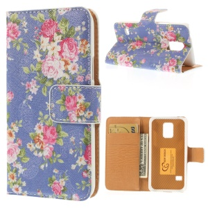 Elegant Flowers PU Leather Stand Case for Samsung Galaxy S5 mini SM-G800 - Purple