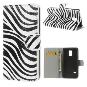 Zebra Stripes Leather Wallet Case w/ Stand for Samsung Galaxy S5 mini SM-G800