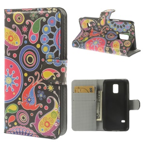 Paisley Pattern Leather Wallet Cover w/ Stand for Samsung Galaxy S5 mini SM-G800