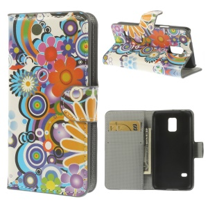 Colorized Flowers Wallet Leather Stand Case for Samsung Galaxy S5 mini SM-G800