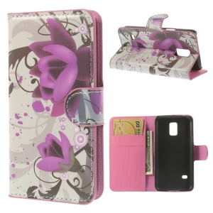 Elegant Lotus Leather Magnetic Cover w/ Card Slots for Samsung Galaxy S5 mini SM-G800