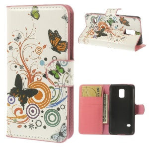 Butterfly Cercles Stand Leather Card Holder Case para Samsung Galaxy S5 mini SM-G800
