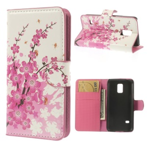 Plum Blossom Stand Leather Card Holder Cover for Samsung Galaxy S5 mini SM-G800
