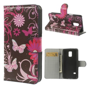 Butterfly Flowers Wallet Leather Magnetic Case w/ Stand for Samsung Galaxy S5 mini SM-G800