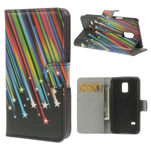 Meteor Shower Wallet Leather Magnetic Cover w/ Stand for Samsung Galaxy S5 mini SM-G800