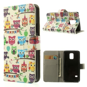 For Samsung Galaxy S5 mini SM-G800 Wallet Leather Stand Shell - Multiple Owls Pattern