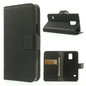 For Samsung Galaxy S5 mini SM-G800 Litchi Texture Leather Wallet Case w/ Stand - Black