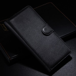 Litchi Skin Leather Wallet Flip Folio Case for Wiko Highway - Black