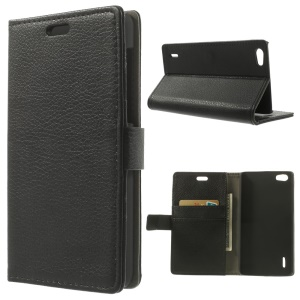 Litchi Texture Stand Leather Wallet Case for Huawei Honor 6 - Black