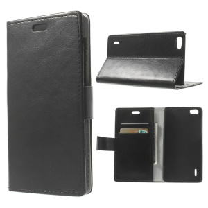 Crazy Horse Texture Wallet Leather Case w/ Stand for Huawei Honor 6 - Black