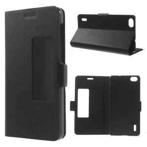 Doormoon View Window Genuine Leather Case w/ Stand for Huawei Honor 6 - Black