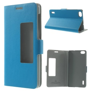 Doormoon for Huawei Honor 6 Genuine Leather Stand Shell w/ View Window - Blue