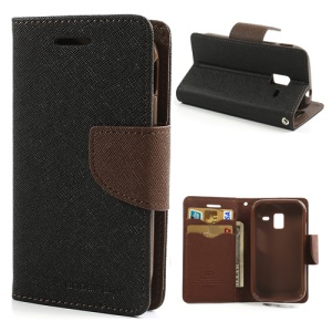 Mercury Goospery Fancy Diary Leather Case for Samsung Galaxy Ace 2 I8160 - Brown / Black