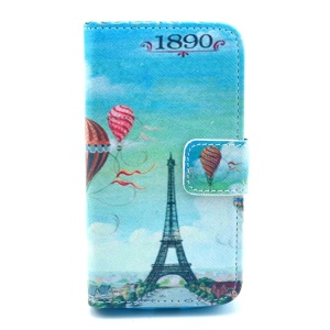 Eiffel Tower & Hot Air Balloon Leather Card Holder Case w/ Stand for Samsung Galaxy Ace 2 I8160