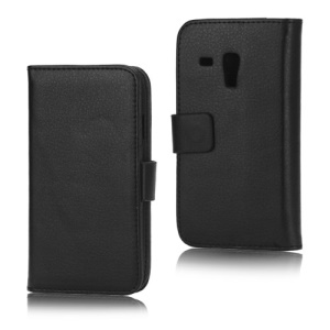 Litchi Leather Stand Case Diary Wallet for Samsung Galaxy S III / 3 Mini I8190 - Black