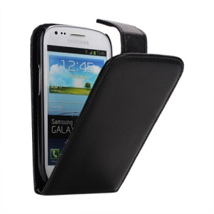 Premium Vertical Magnetic Leather Case for Samsung Galaxy S III / 3 Mini I8190 - Black