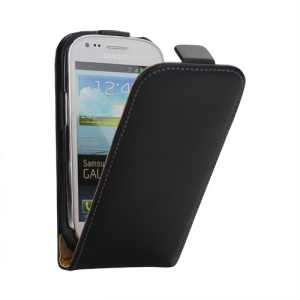Genuine Split Leather Flip Case for Samsung Galaxy S III / 3 Mini I8190 - Black