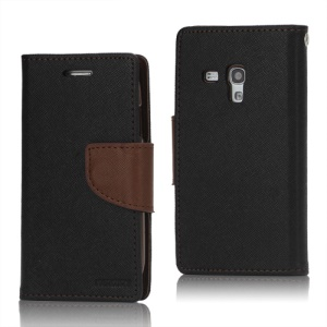 Mercury GOOSPERY Fancy Diary Leather Wallet TPU Case for Samsung Galaxy S III / 3 Mini I8190 - Brown / Black