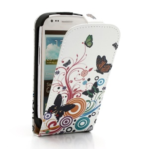 Vivid Butterfly Circle Magnetic Vertical Flip Leather Skin Case for Samsung i8190 Galaxy S3 Mini