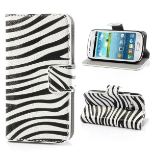 Zebra Stripe Leather Flip Case Wallet for Samsung Galaxy S III / 3 Mini I8190