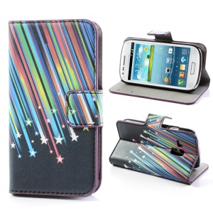 Meteor Shower Leather Magnetic Wallet Case Cover for Samsung Galaxy S III / 3 Mini I8190