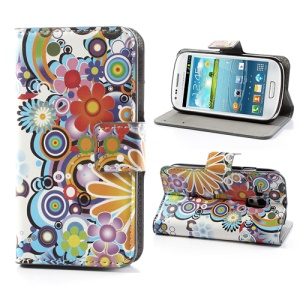 Vivid Flowers Leather Case Magnetic Wallet for Samsung Galaxy S III / 3 Mini I8190