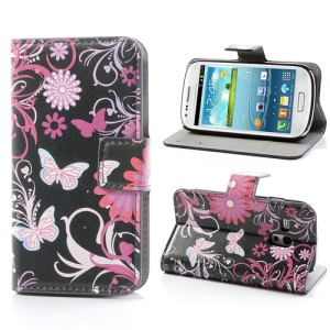 Butterfly Flowers Leather Card Holder Case Wallet for Samsung Galaxy S III / 3 Mini I8190