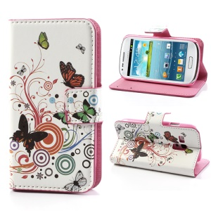 Butterfly Circles Leather Magnetic Case Card Holder for Samsung Galaxy S III / 3 Mini I8190