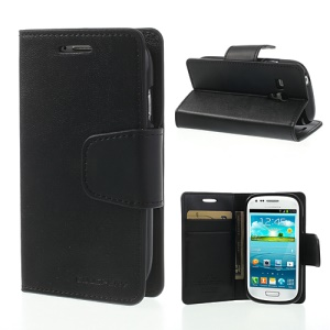 Black Mercury Goospery Sonata Diary Wallet Leather Cover Stand for Samsung Galaxy S3 Mini I8190