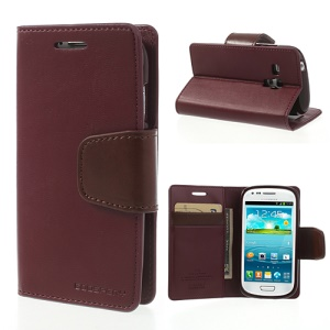 Wine Red Mercury Goospery Sonata Diary Wallet Leather Cover Stand for Samsung Galaxy S3 Mini I8190