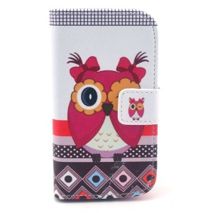 Wearing Bowknots Girl Owl for Samsung Galaxy S3 Mini I8190 Wallet Leather Stand Case