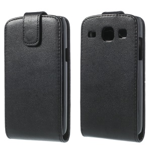 Black Vertical Leather Magnetic Case for Samsung Galaxy Core I8260 I8262