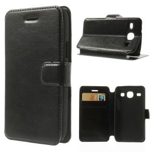 Black Crazy Horse Wallet Leather Stand Case for Samsung Galaxy Core I8260 I8262