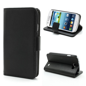 Litchi Grain Folio Wallet Leather Cover with Stand for Samsung Galaxy Express I8730 - Black