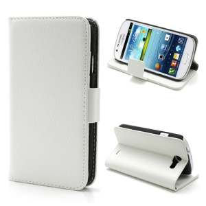 Litchi Grain Folio Wallet Leather Cover with Stand for Samsung Galaxy Express I8730 - White