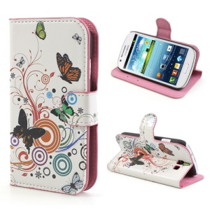 Circles Butterflies Leather Wallet Cover for Samsung Galaxy Express I8730
