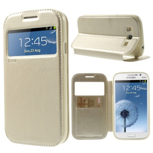 Champagne Roar Korea for Samsung Galaxy Grand I9080 I9082 Noble Leather View Window Stand Case