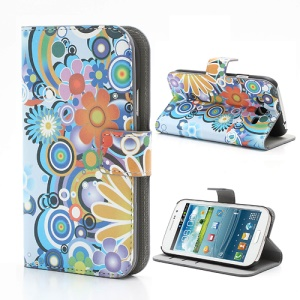 Colorful Flowers Wallet Leather Stand Phone Case for Samsung Galaxy Grand I9080 I9082 / Neo i9060 i9062