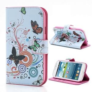 Vivid Butterfly Circle Wallet Leather Case Shell for Samsung Galaxy Grand I9080 I9082 / Neo i9060 i9062
