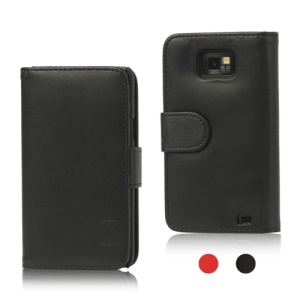 Folio Leather Wallet Case Cover for Samsung I9100 Galaxy S2 / II;Black
